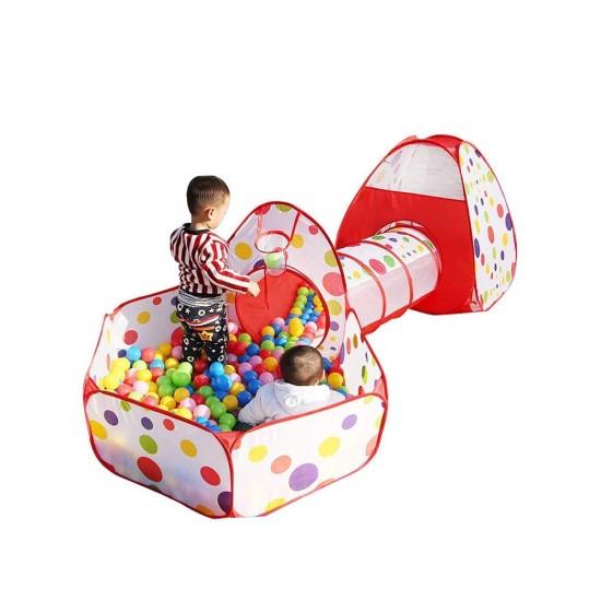 خيمة منزل الكرات ونفق 3 في 1 مع 200 كرة