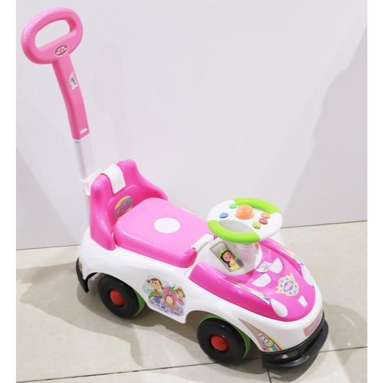 سيارة دف أطفال لون زهري مع ابيض دركسون اخضر